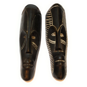 "Set of (3) Masks: 12"" - 13"" African Gabon Cameroon Wood Fang Mask in Black - Laura Baby and Company"