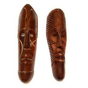 "2 Pieces of 12"" African Gabon Cameroon Wood Fang Mask in Brown - Laura Baby and Company"
