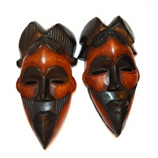 "1 Piece of 12"" African Wood Mask: Black and Brown - Laura Baby and Company"