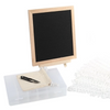 "Black Felt Letter Board 10x10 Inches. Changeable Letterboards & bag, 790 (340 ¾""+ 450 1"") White Plastic Letters, Sorting Tray Case, Oak Frame & Easel - Laura Baby and Company"