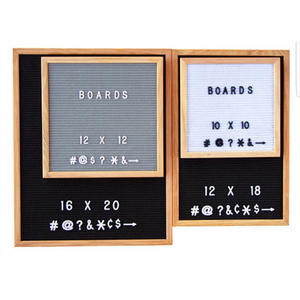 SALE 12x18 Felt Letter Board|Oak Frame Letter Board|Grey Black White Felt Letter Board with 340 White Letters, Characters, Emojis|Felt Message Board|12x18 Felt Sign - Laura Baby and Company
