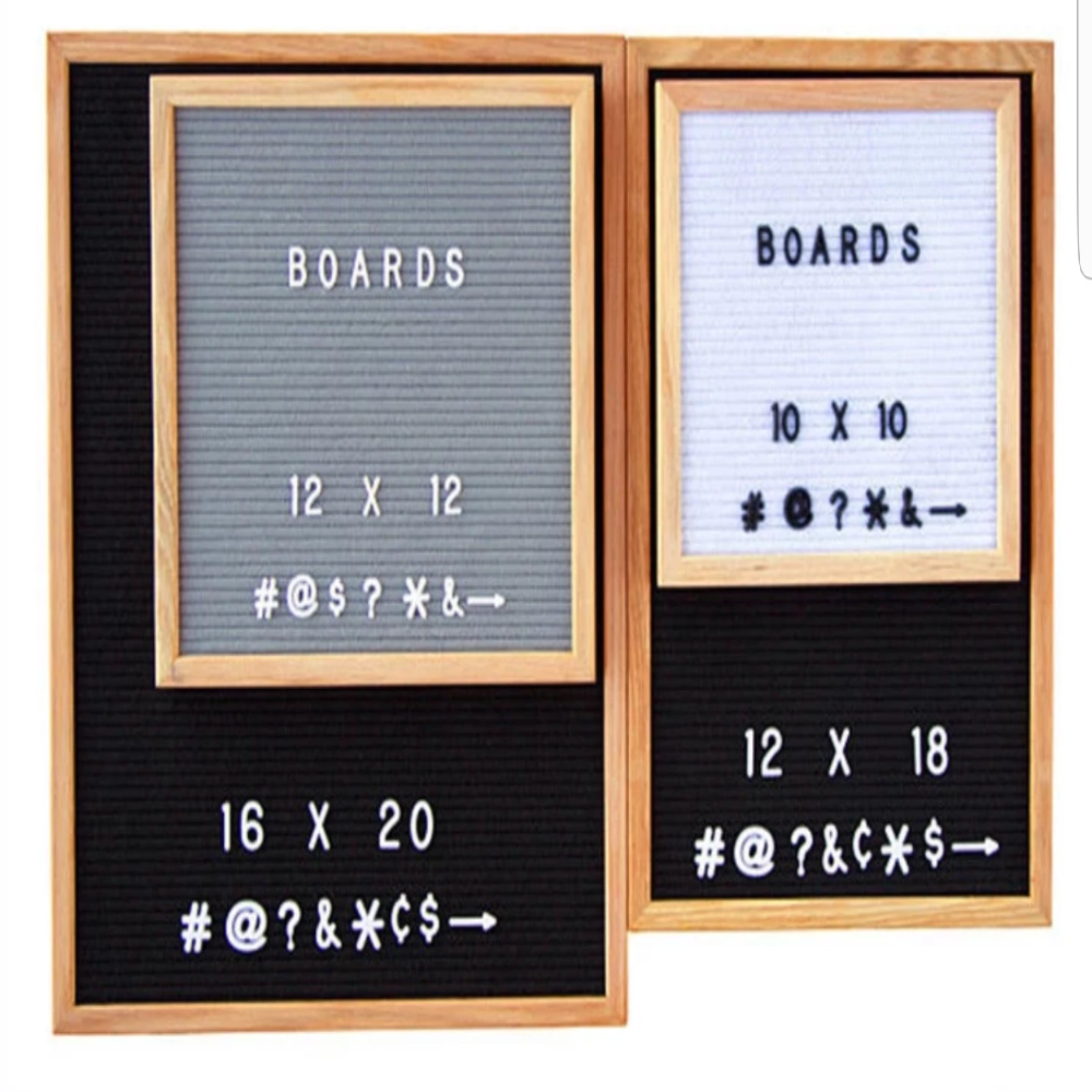 SALE 10x10 Felt Letter Board|Oak Frame Letter Board|Grey Black White Felt Letter Board with 340 White Letters, Characters, Emojis|Felt Message Board|10x10 Felt Sign - Laura Baby and Company