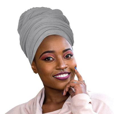 ONE DAY SALE 2 Pcs Black and Heather Grey Solid Color Head Wrap Stretch Long Hair Scarf Turban Tie Kente African Hat Jersey Knit Headwrap - Laura Baby and Company