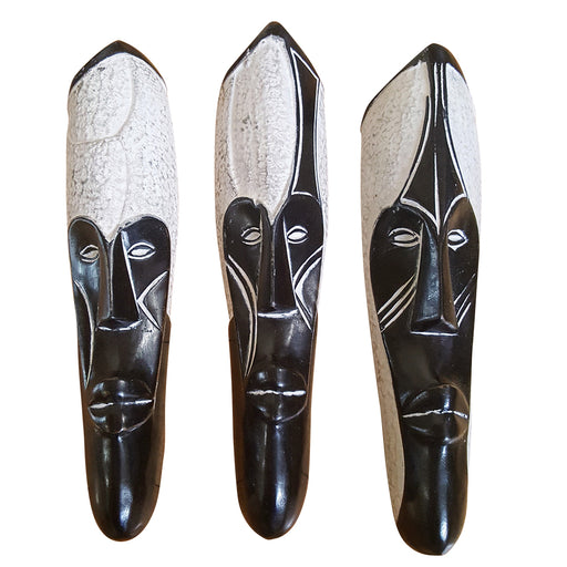 "Set of (3) Masks: 12"" African Gabon Cameroon Wood Fang Masks: Black and White - Laura Baby and Company"