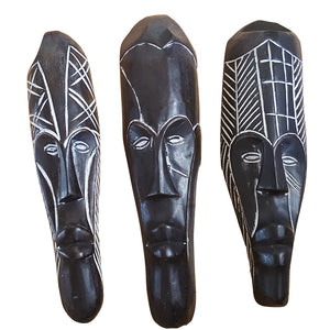 "12"" - 13"" African Gabon Cameroon Wood Fang Mask: Black - Laura Baby and Company"