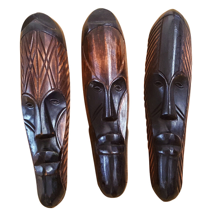 "Set of (3) Masks :12"" - 13"" African Gabon Cameroon Wood Fang Masks: Brown and Black - Laura Baby and Company"