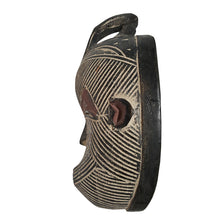 "1 Piece of 12"" Male (one bird) African Congo Songi Songe Songye Kwifibe Wood Mask in Black and White - Laura Baby and Company"