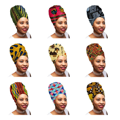 "Mix of 4 Pcs of KENTE Extra Long 72""×22"" Headwraps ANKARA Dashiki African Print Head Wraps/Scarfs for Women Multicolor Headwrap Tie Hat Ethnic Tribal - Laura Baby and Company aaa"