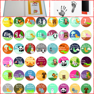 First 5 Years Baby Memory Book with 48 Pack Monthly Milestones Stickers & Clean-Touch Baby Safe Ink Pad Make Baby's Hand & Footprint - Laura Baby and Company aaa