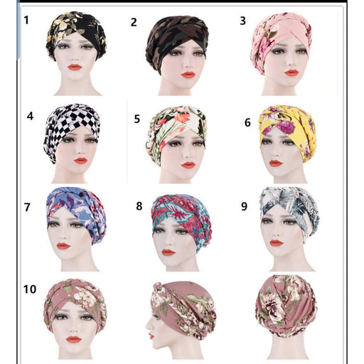 ONE DAY SALE PRE-TIED Women African Turban with Rose Flower Knot | Pre-Tied Bonnet Beanie Cap Headwrap| Stretch Jersey Solid Colors and Floral Knit Wraps Scarf Turbans Ties | Lightweight Breathable Head Wraps | Headbands | Bandana
