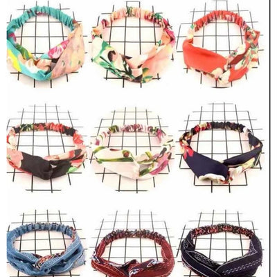 9 PC Set of Women Girls Summer Bohemian Hair Bands Print Headbands Retro Cross Turban Bandage Bandanas HairBands Hair Accessories Headwrap - Laura Baby and Company