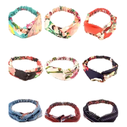 9 PC Set of Women Girls Summer Bohemian Hair Bands Print Headbands Retro Cross Turban Bandage Bandanas HairBands Hair Accessories Headwrap