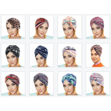 PRE-TIED Pack of 9 Women African Turban with Rose Flower Knot | Pre-Tied Bonnet Beanie Cap Headwrap| Stretch Jersey