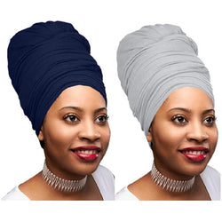 2 Pcs Navy Blue and Heather Grey Solid Color Head Wrap Stretch Long Hair Scarf Turban Tie Kente African Hat Jersey Knit Headwrap