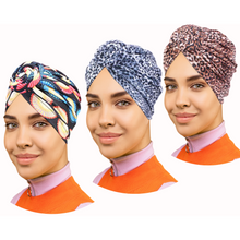 3 Pack Set of PRE-TIED Women Headwrap Turban with Rose Flower Knot Bonnet Beanie Cap | Stretch Jersey Lightweight Breathable Wraps Headbands | Bandana