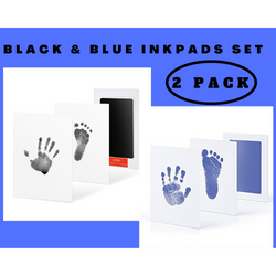2 Pack Black and Blue Clean-Touch Baby Safe Ink Pads Make Baby's Hand & Footprint (Clean-Touch Baby Safe Inkpad)