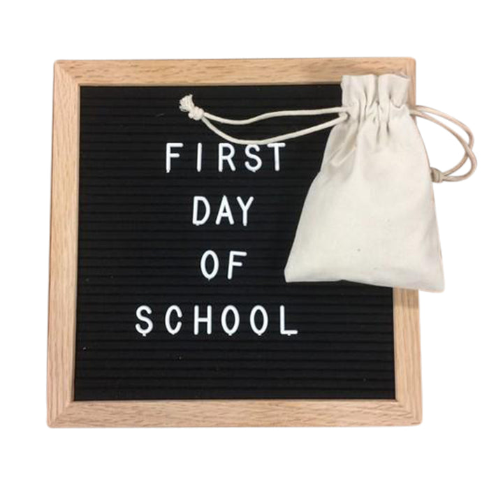Felt Letter Board 10x10 Inches. Include bag, 680 White Plastic Letterboards Letters Characters, Oak Frame and Easel - Laura Baby and Company