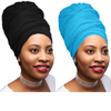 2 Pcs Black and Teal Blue Solid Color Head Wrap Stretch Long Hair Scarf Turban Tie Kente African Hat Jersey Knit Headwrap