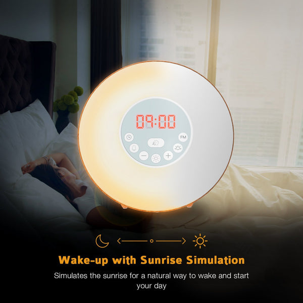 Wake Up Light Wood Grain Sunrise Sunlight Alarm Clock with 6 Natural Sounds & FM Radio & Snooze Function and 7 Colors Bedside Lamp - Laura Baby and Company