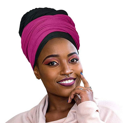 ONE DAY SALE 2 Pcs Black and Fuchsia Solid Color Head Wrap Stretch Long Hair Scarf Turban Tie Kente African Hat Jersey Knit Headwrap - Laura Baby and Company