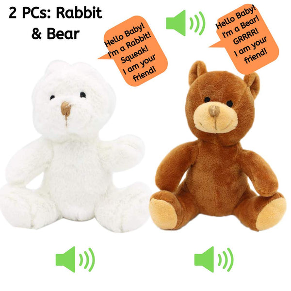 2 Pc Plush Rabbit & Bear Jungle Friends Talking Plush Animal 1 Year Old up Boy Girl Baby Realistic Sound Stuffed Toys Babies Toddler Children