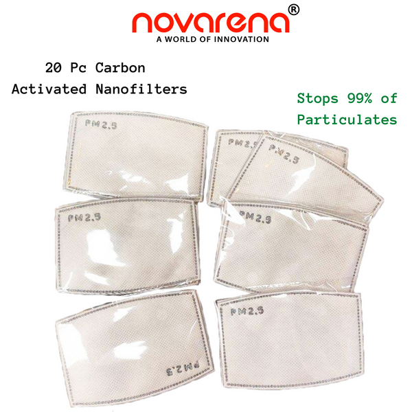 NOVARENA 5 Black Unisex Cloth Face Masks + 20 Pcs Filters - Washable & Reusable - Adults Size - Cotton - with Filter - Unisex Protective Adjustable and Reusable Dust Cotton Cover