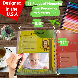 First 5 Years Baby Memory Book with 48 Pack Monthly Milestones Stickers & Clean-Touch Baby Safe Ink Pad Make Baby's Hand & Footprint -Jungle Theme - Laura Baby and Company