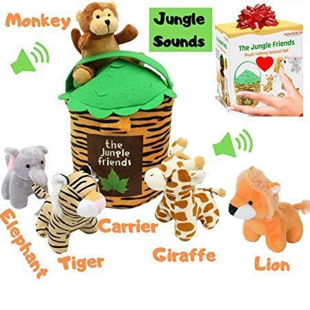 Jungle Friends Talking Plush Animals 1- 7 Year Old up Stuffed Toys Lion Elephant Giraffe Tiger Monkey (6 Pc Premium Jungle Set) - Laura Baby and Company