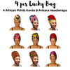 "Mix of 4 Pcs of KENTE Extra Long 72""×22"" Headwraps ANKARA Dashiki African Print Head Wraps/Scarfs for Women Multicolor Headwrap Tie Hat Ethnic Tribal - Laura Baby and Company"