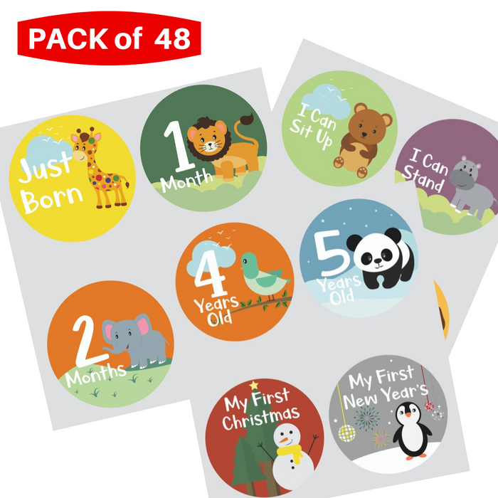 Novarena Little Jungle and Farm Animals Lover Baby Memory Book with 48 milestones stickers- First 5 Years - Laura Baby and Company