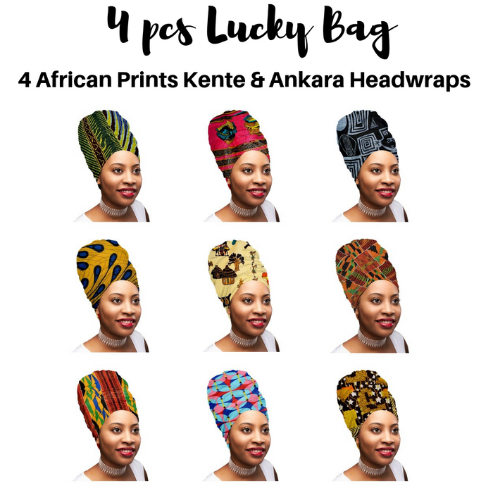 "🎁 ONE DAY SALE - Mix of 4 Pcs of KENTE Extra Long 72""×22"" Headwraps ANKARA Dashiki African Print Head Wraps/Scarfs for Women Multicolor Headwrap Tie Hat- Ethnic Tribal - Laura Baby and Company"