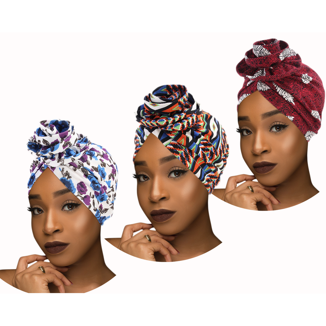 PRE-TIED Women African Turban with Rose Flower Knot | Pre-Tied Bonnet Beanie Cap Headwrap| Stretch Jersey Solid Colors and Floral Knit Wraps Scarf