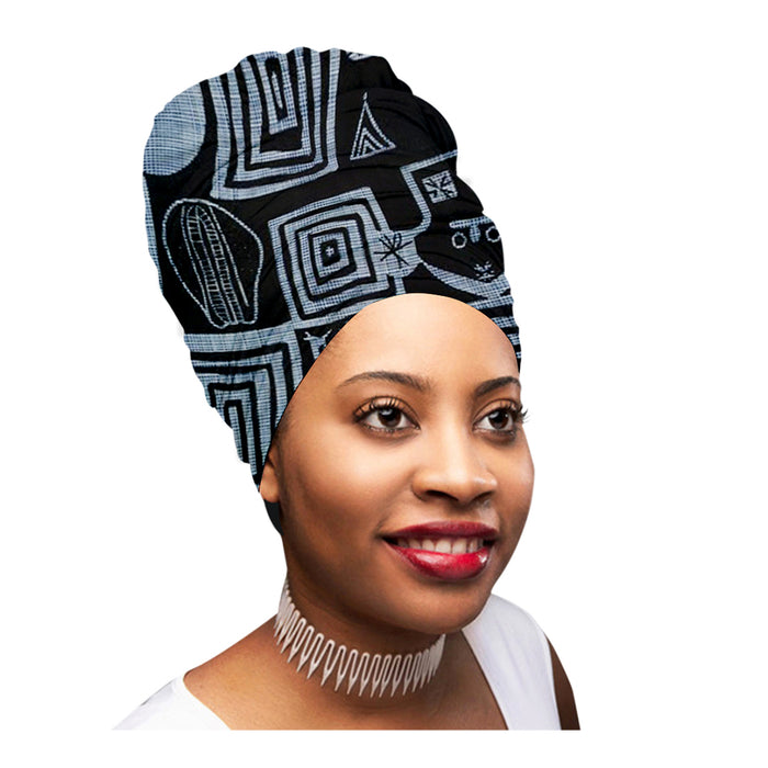 "🎁 ONE DAY SALE - KENTE Extra Long 72""×22"" Headwrap ANKARA Dashiki African Print Head Wraps/Scarfs for Women - Green, Black and Orange  Headwrap Tie Hat - Ethnic Tribal - Laura Baby and Company"