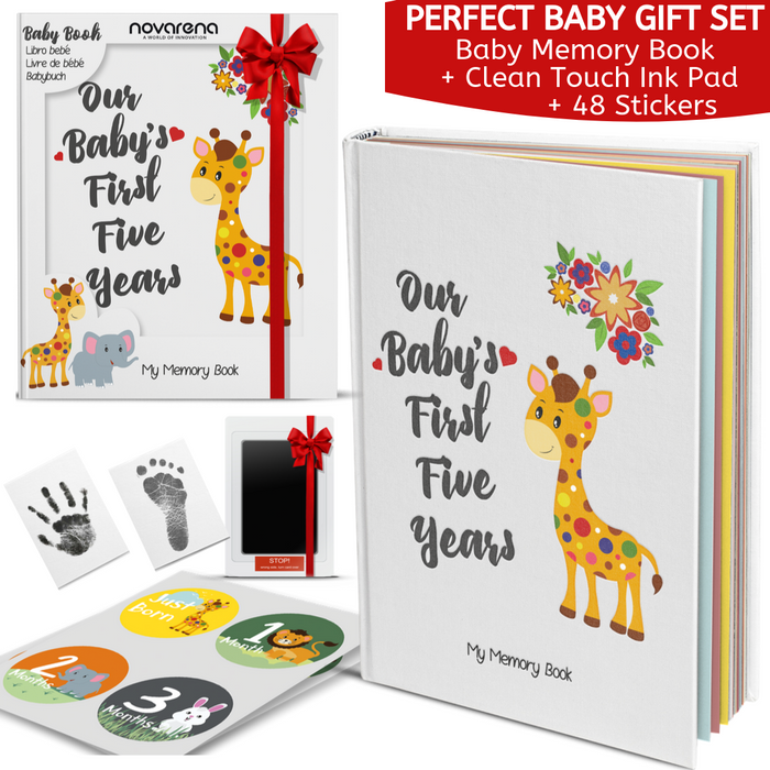 Novarena First 5 Years Baby Memory Book with 48 Pack Monthly Milestones Stickers & Clean-Touch Baby Safe Ink Pad Make Baby's Hand & Footprint (Giraffe and Jungle Theme Unisex) - Laura Baby and Company