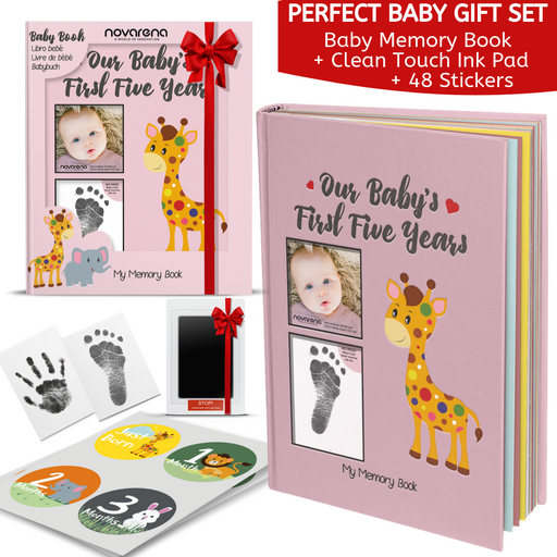 Novarena First 5 Years Baby Memory Book with 48 Pack Monthly Milestones Stickers & Clean-Touch Baby Safe Ink Pad Make Baby's Hand & Footprint (Giraffe and Jungle Theme for Girls - Cover Picture Frame)