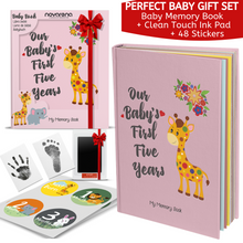 Novarena First 5 Years Baby Memory Book with 48 Pack Monthly Milestones Stickers & Clean-Touch Baby Safe Ink Pad Make Baby's Hand & Footprint (Giraffe and Jungle Theme for Girls) - Laura Baby and Company