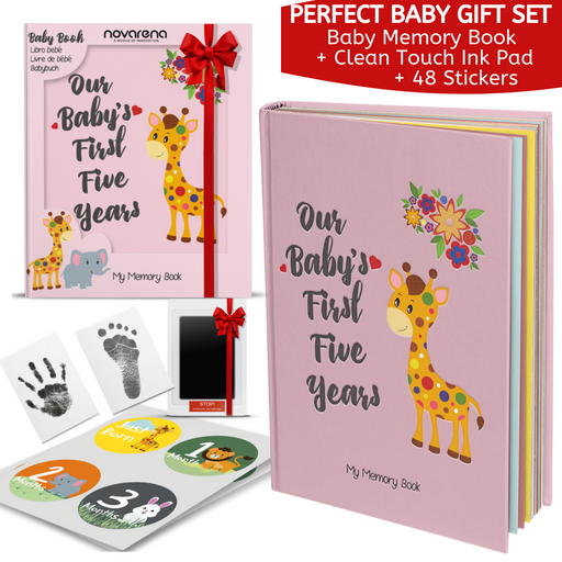 Novarena First 5 Years Baby Memory Book with 48 Pack Monthly Milestones Stickers & Clean-Touch Baby Safe Ink Pad Make Baby's Hand & Footprint (Giraffe and Jungle Theme for Girls)