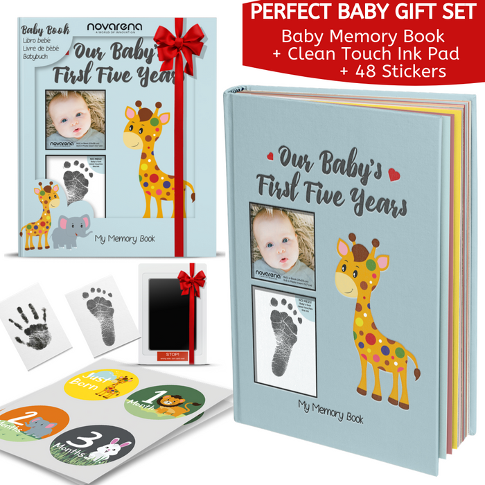 Novarena First 5 Years Baby Memory Book with 48 Pack Monthly Milestones Stickers & Clean-Touch Baby Safe Ink Pad Make Baby's Hand & Footprint (Giraffe and Jungle Theme for Boys - Cover Picture Frame)