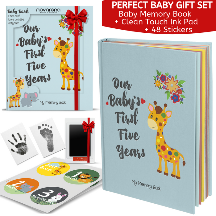 Novarena First 5 Years Baby Memory Book with 48 Pack Monthly Milestones Stickers & Clean-Touch Baby Safe Ink Pad Make Baby's Hand & Footprint (Giraffe and Jungle Theme for Boys)