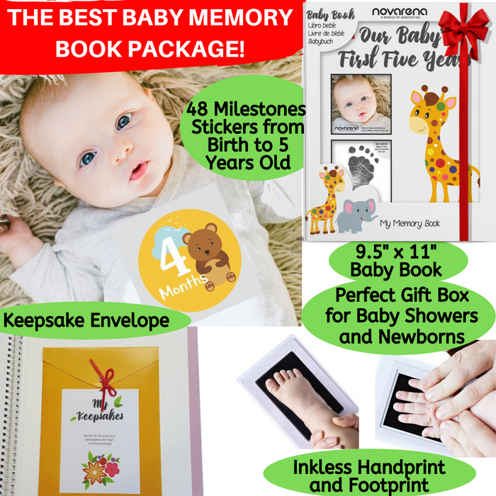 Novarena First 5 Years Baby Memory Book with 48 Pack Monthly Milestones Stickers & Clean-Touch Baby Safe Ink Pad Make Baby's Hand & Footprint (Giraffe and Jungle Theme Unisex - Cover Picture Frame) - Laura Baby and Company