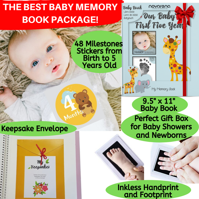 Novarena First 5 Years Baby Memory Book with 48 Pack Monthly Milestones Stickers & Clean-Touch Baby Safe Ink Pad Make Baby's Hand & Footprint (Giraffe and Jungle Theme for Boys - Cover Picture Frame) - Laura Baby and Company