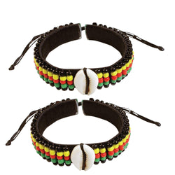 2 Pcs Jamaican Rasta Beads Bracelets for Men Women Beaded Bracelets Multi Layer Stackable Ethnic Tribal African Bracelets