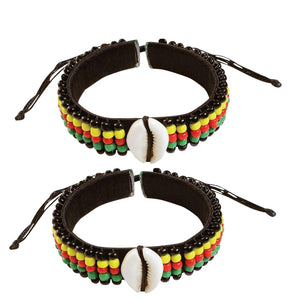 2 Pcs Jamaican Rasta Beads Bracelets for Men Women Beaded Bracelets Multi Layer Stackable Ethnic Tribal African Bracelets - Laura Baby and Company