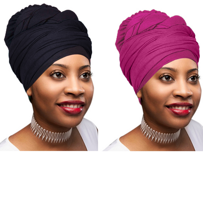 2 Pcs Black and Fuchsia Solid Color Head Wrap Stretch Long Hair Scarf Turban Tie Kente African Hat Jersey Knit Headwrap