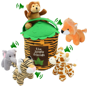 Jungle Friends Talking Plush Animals 1- 7 Year Old up Stuffed Toys Lion Elephant Giraffe Tiger Monkey (6 Pc Premium Jungle Set)