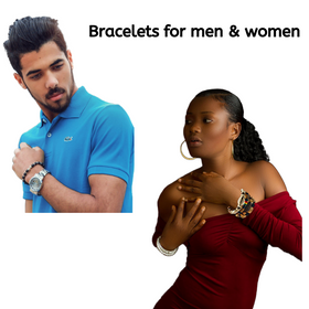 4 Pcs Bracelets for Men Women Wooden Beaded Bracelets Multi Layer Stackable Ethnic Tribal African Bracelets