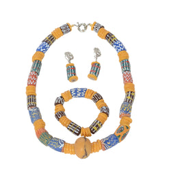 Authentic Handmade Vintage African Trade Beads Necklace, Earrings and Bracelet Set