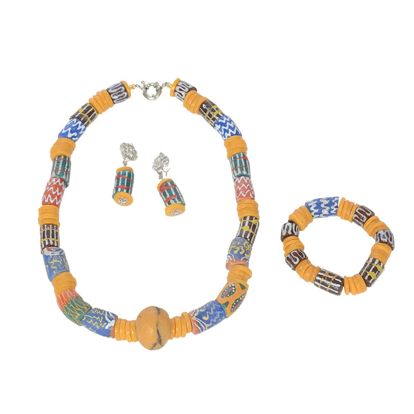 Authentic Handmade Vintage African Trade Beads Necklace, Earrings and Bracelet Set - Laura Baby and Company