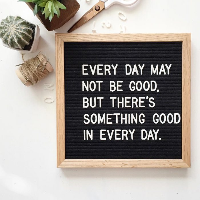 "Black Felt Letter Board 10x10 Inches. Changeable Letterboards Include bag, 790 (340 ¾""+ 450 1"") White Plastic Letters, Numbers, Special Characters, Emojis , Symbols, and Punctuation, Sorting Tray Case, Oak Frame & Easel - Laura Baby and Company"