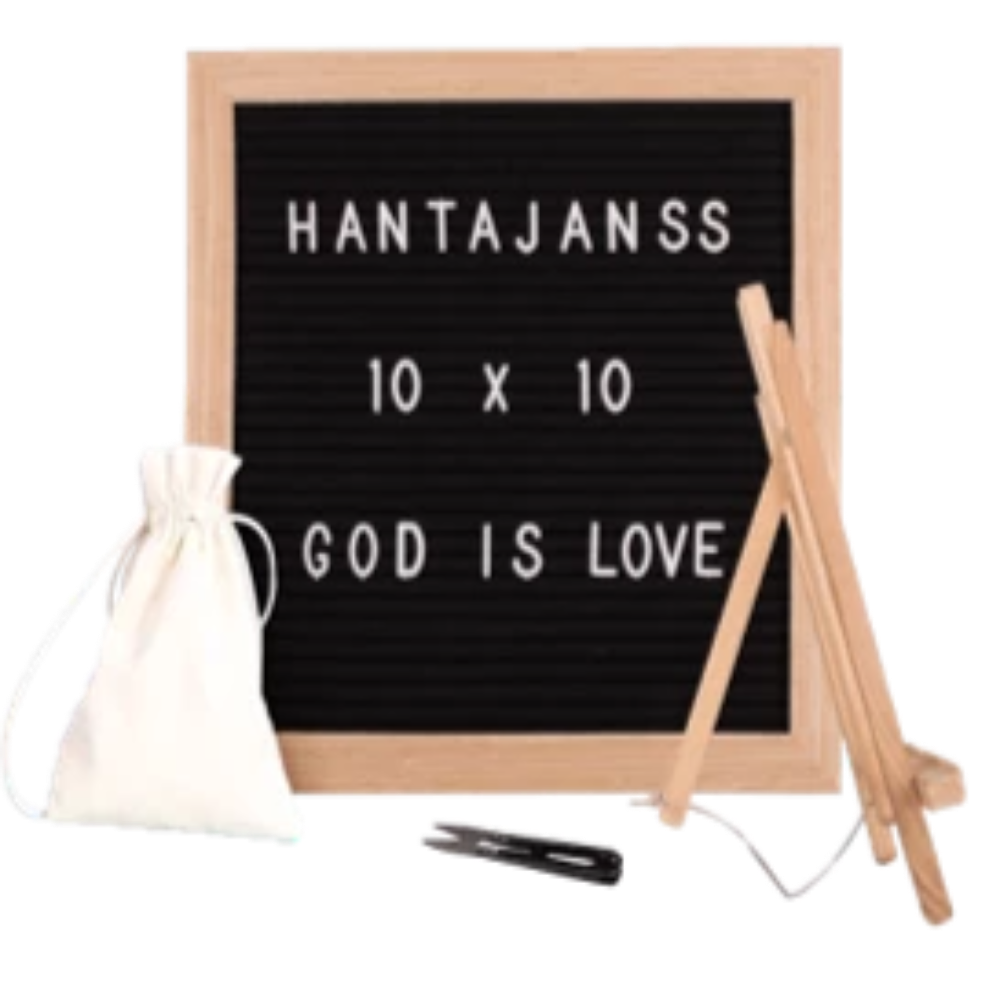 "Felt Letter Board 10x10 Inches. Changeable Letter Boards Include 680 (¾"") White Plastic Letters, Numbers, Special Characters, Emojis, Symbols, and Punctuation , Oak Frame & Easel - Laura Baby and Company"